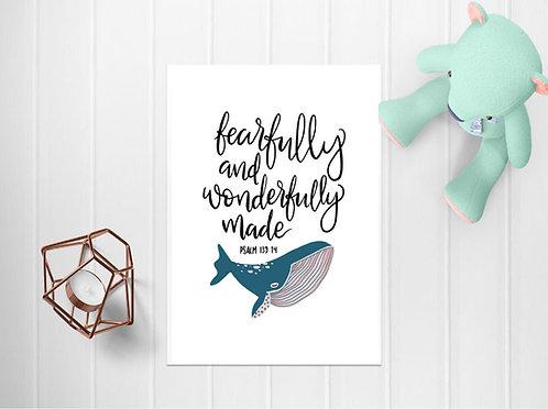 A4 Wonderfully Made Whale Print