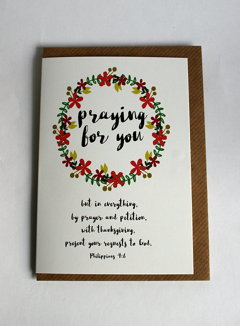 Praying For You Greetings Card WS
