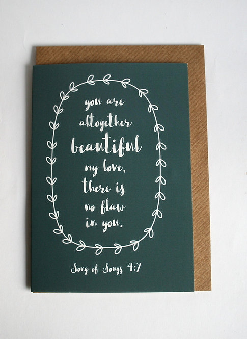 You Are Beautiful Greetings Card WS