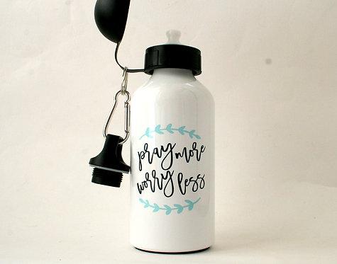 Pray More Metal Water Bottle