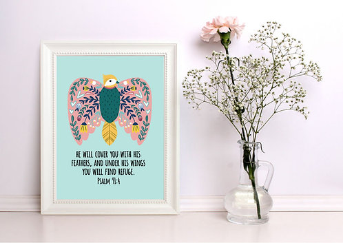 A4 His Feathers Folk Art Print