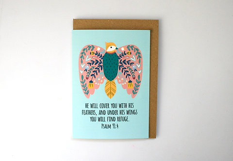 His Feathers Folk Art Greetings Card WS
