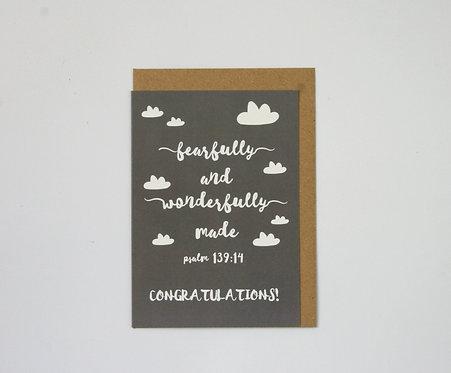 Wonderfully Made Grey  Greetings Card