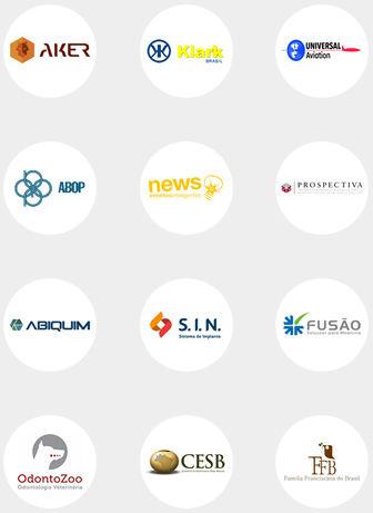 Logos clientes corporativos Aker Klark Abop Abiquim Odontozoo CESB FFB Universal Aviation