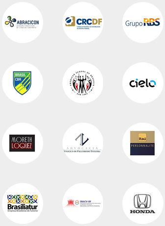 Logos clientes corporativos Abracicon CRCDF Grupo RBS Cielo CBR Itaú Personalité Brasiliatur Honda Moreth Loquez SBACVDF EABDF