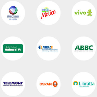 Logos clientes corporativos Record Brasília Molico Nestle Vivo Unimed Abrace ABBC Telemont OSRAM Libratt