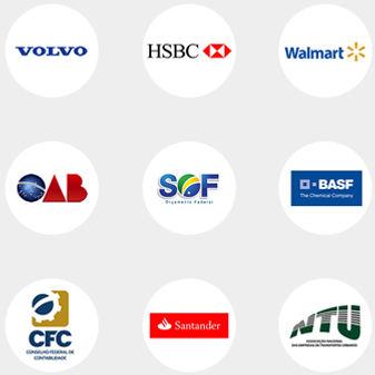 Logos clientes corporativos Volvo HSBC Walmart OAB SOF BASF CFC Santander NTU
