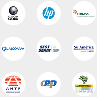 Logos clientes corporativos Editora Globo HP CONASS Qualcomm Sest Senat SulAmérica ANTF CPqD MMA