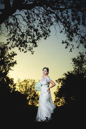 Noiva iluminada em meio a silhueta de árvores