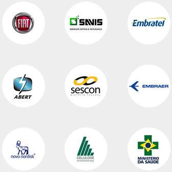 Logos clientes corporativos Fiat Savis Embratel Embraer Sescon Abert Novo Nordisk