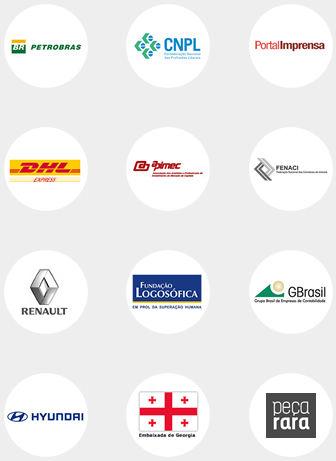 Logos clientes corporativos Petrobras CNPL Portal imprensa DHL Apimec Fenaci Renault GBrasil Hyundai Peça Rara Fundação Logosófica