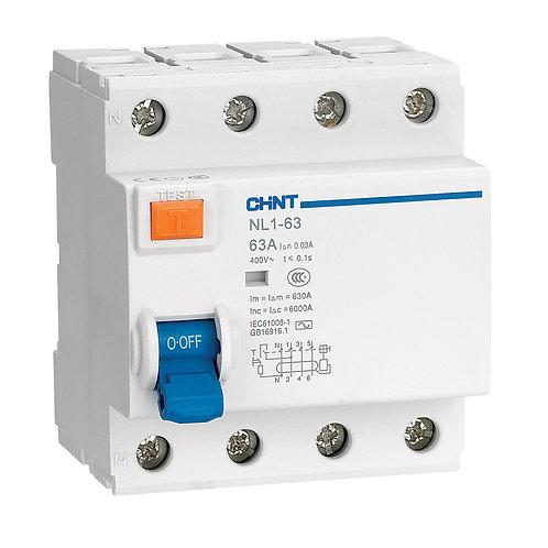УЗО NL1-63 6kA 4P 63A 30mA тип AC (DB) (CHINT)