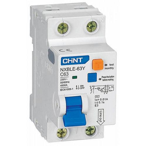 Диф. автомат NXBLE-63Y 1P+N 6А 10mA электронный тип AС, х-ка D, 4.5kA (CHINT)