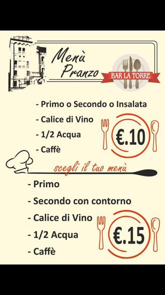 Menù Pranzo (da lunedì a sabato)