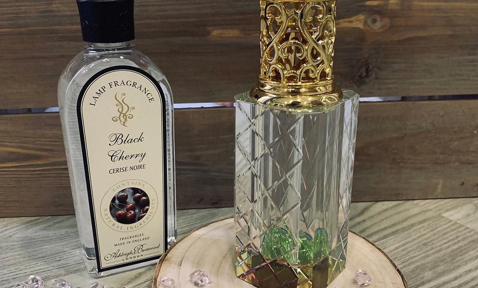 Lampara de fragancia de cristal i caja de madera