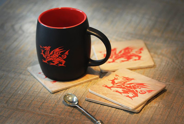 New Welsh Dragon barrel mug & hand-made wood coasters