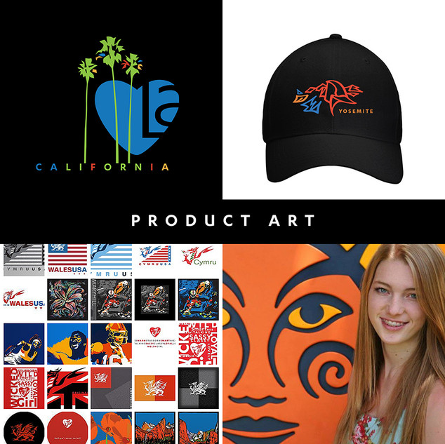 "Distinct and unique product creative from Wales to New York, California to Tobago and many placecs inbetween.  I provide art on apparel, drinkware and take-home gift products direct to clients and (preferable) license my creative to decorators looking for ""something fresh and new"" for thier many clients all over the US and beyond."
