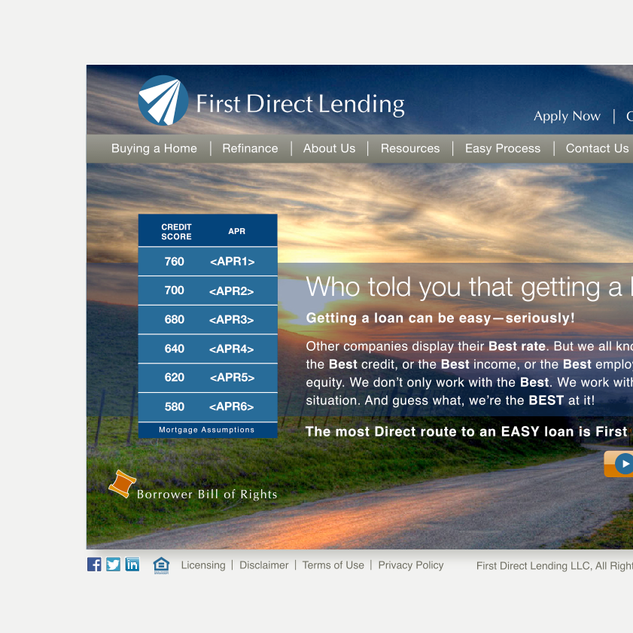 First Direct Lending web site interface design / branding