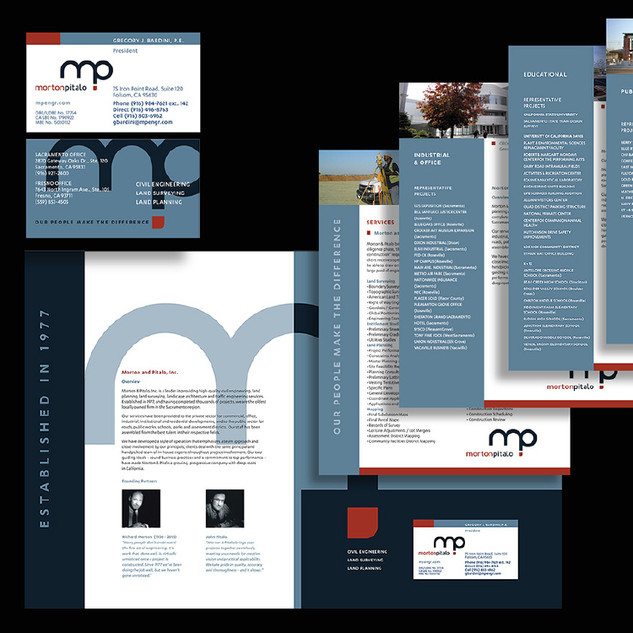 MPE business cards, overview folder and service sheets