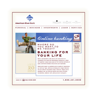 American River Bank web site interface