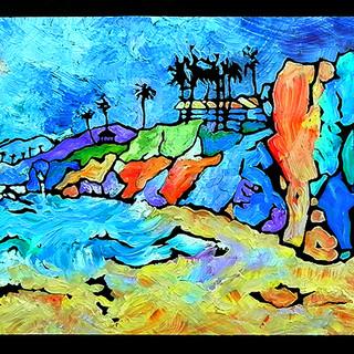 """Pismo Beach, CA. Oil on board. 36"""" x 12"""""""