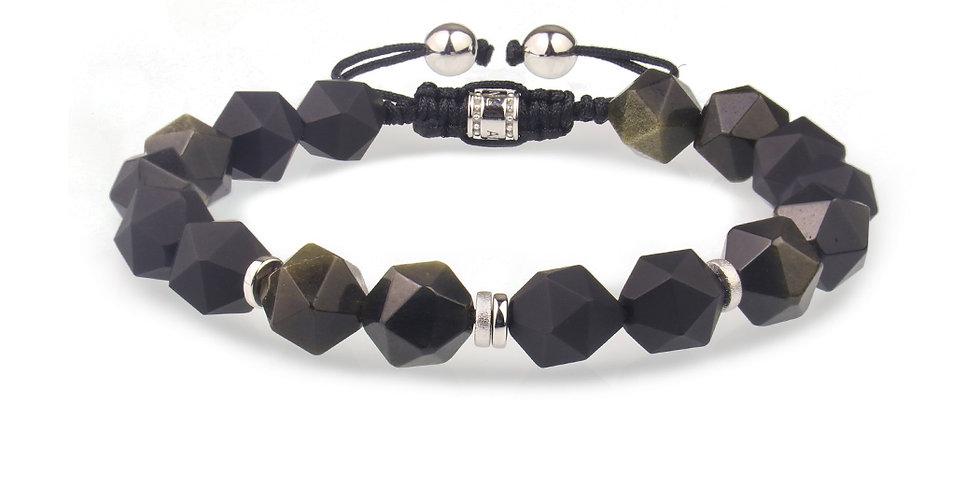 Brazil Black Onyx Mexican Obsidian Men's Bracelet
