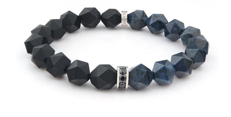 Faceted Matte Black Onyx & Dumortierite Beads Bracelets