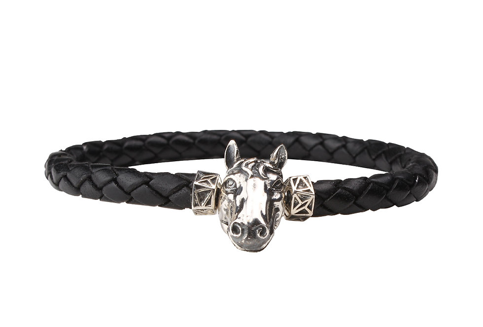 Leather Braided Men's Bracelet with Iceland's Horse