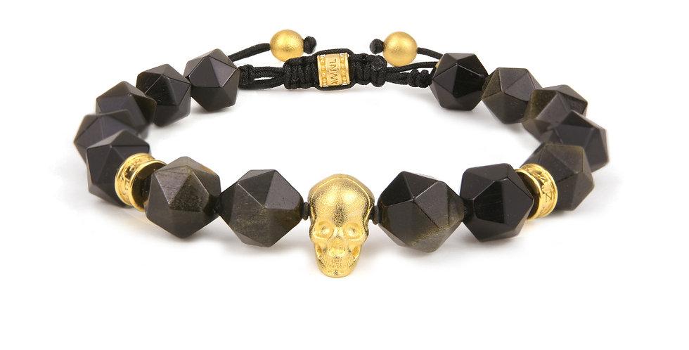 Brazil Gold Obsidian Beads Braided Bracelet with Skull and Runes