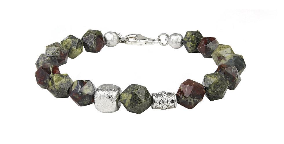 Swedish Meteorite Dragon Blood Stone Men's Bracelet