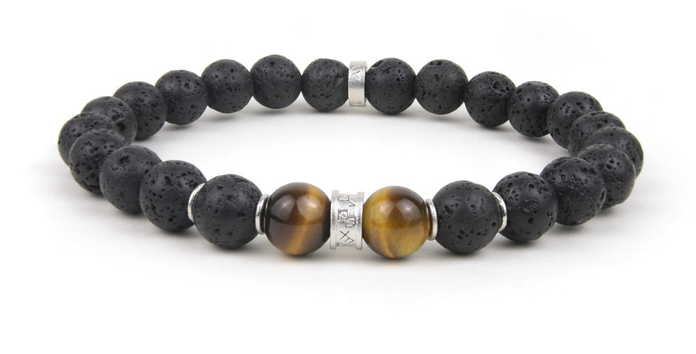 Men's Bracelet Natural Lava Stone Tiger Eye Stone