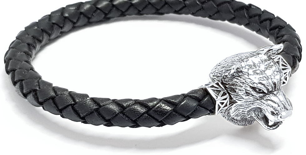 Leather Braided Men's Bracelet Wolf Head