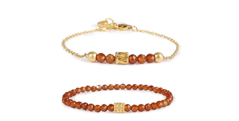 Armenian Orange Garnet Double String Bracelet