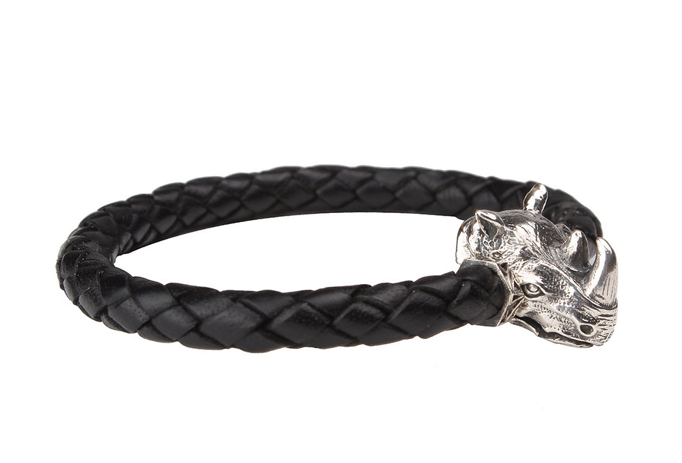 Leather Braided Men's Bracelet with Rhino Head