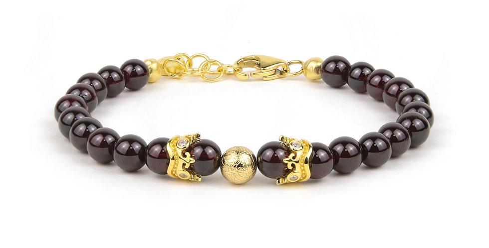 Swedish Meteorite Brazil Garnet Gemstone Girl's Bracelet