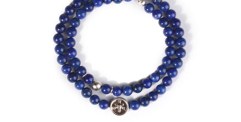 Swedish Meteorite Afghan Lapis Lazuli Double String Bracelet
