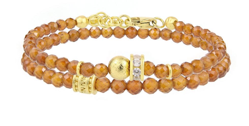 Brazil Orange Garnet Double String Bracelet