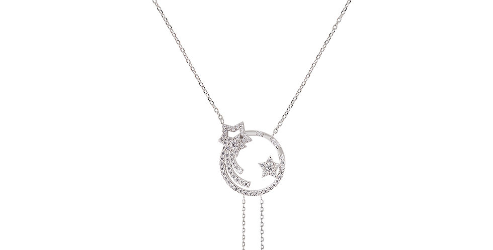 Star Moon Clavicle Necklace with Meteorite Beads Pendant
