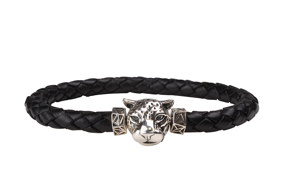 Leather Braided Men's Bracelet with Snow Leopard Head