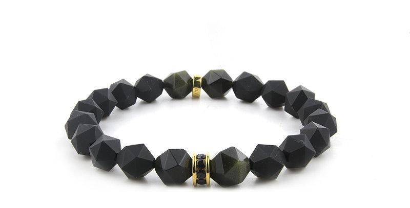 Mexico Obsidian Brazil Black Onyx Men's Bracelet