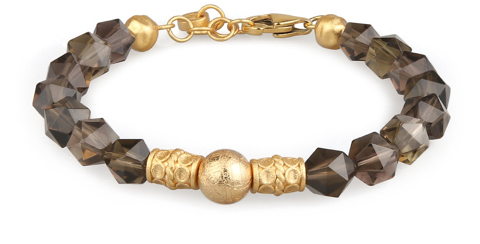 Smoky Quartz Men's Energy Bracelet with Swedish Meteorite