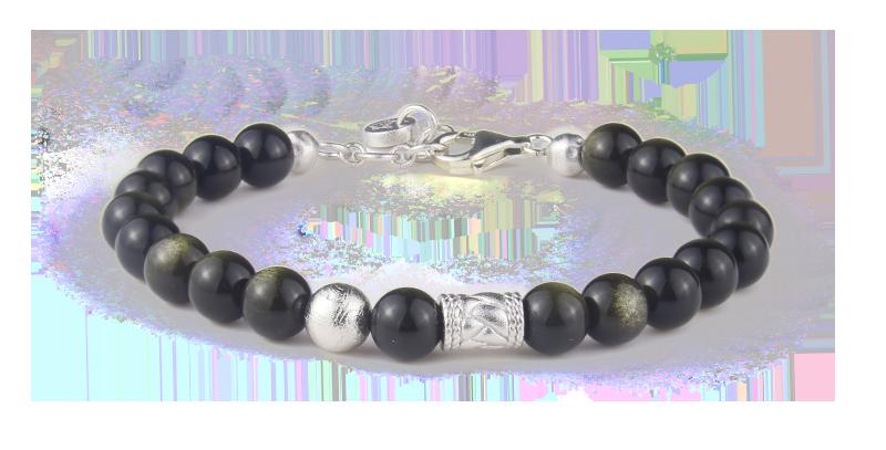 Swedish Meteorite Bracelet Mexico Obsidian Beads Women