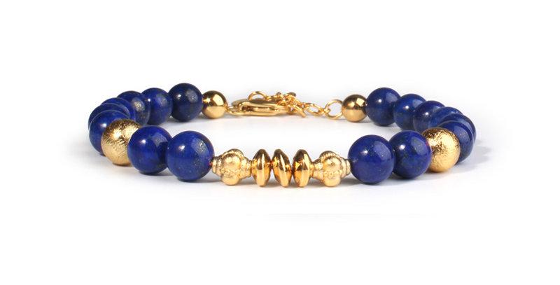 Swedish Meteorite Energy Bracelet Afghan Lapis Lazuli Gemstone