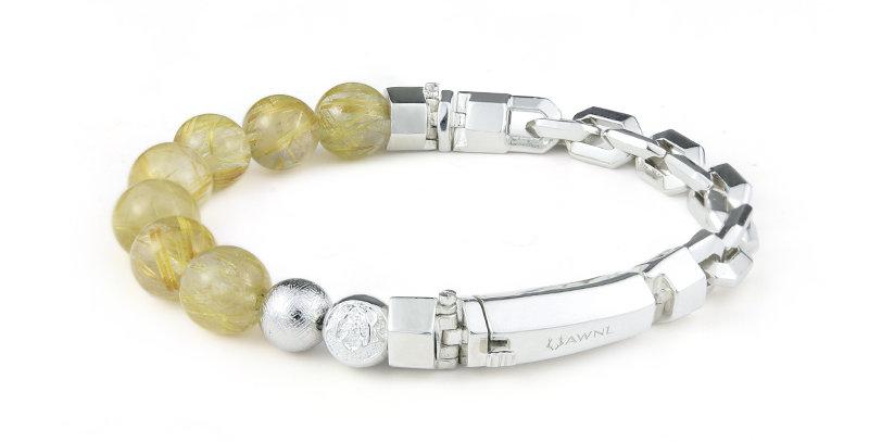 Swedish Meteorite Blonde Crystal Men's Bracelet
