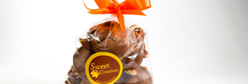 Mini Pecan Turtles Dipped in Dark Chocolate