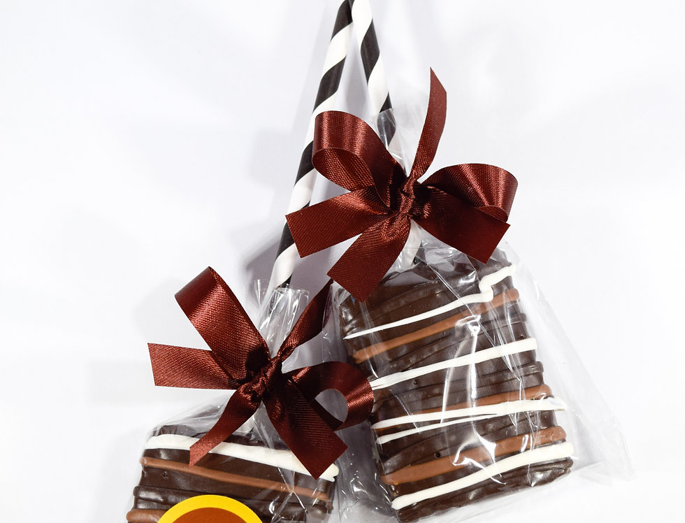 Rice Krispy Treat Pop Dipped in Dark Chocolate