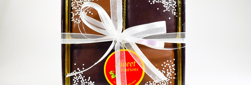 Creamy Chocolate Fudge Dipped in Milk, Dark & Ivory Chocolate