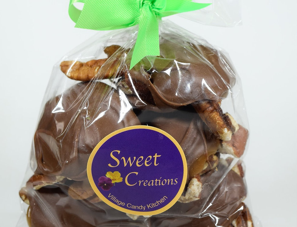 Mini Pecan Turtles Dipped in Dark Chocolate