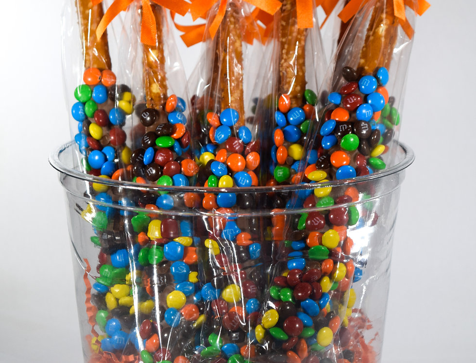 Pretzel Rod Dipped in Dark & Milk Chocolate with colored M & M's