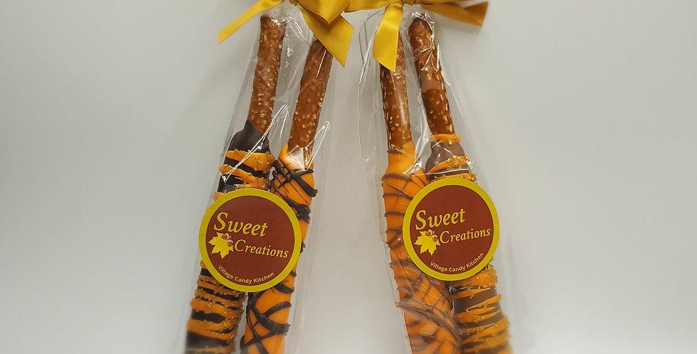 Chocolate Dipped Caramel Pretzel Rod Duet